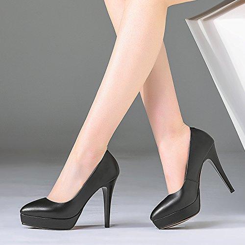 boca Poca tacones Los puntos Transpirable Trabajo Zapatos Treinta y trabajo desplazamientos Moda 38 nueve altos Black elegante Sandalias de mujer AJUNR 11cm domiciliolugar de Sharp Zxpzawwq
