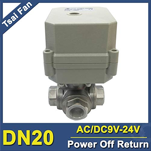 Fincos TF20-S3-C Power Off Return Valve AC/DC9-24V 3-Way DN20 L/T Type BSP/NPT 3/4'' Stainless Steel Actuated Ball Valve - (Type: T Port Flow A, Vol: 9V-24V, Wiring Control: CR202) ()