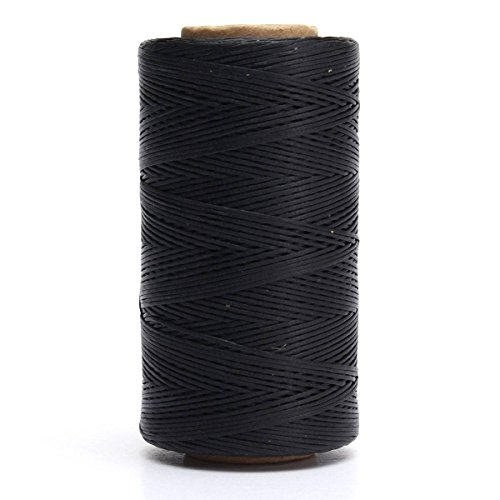 284yrd black Leather Sewing Waxed Thread 150D 1mm Leather Hand Stitching 125g ()