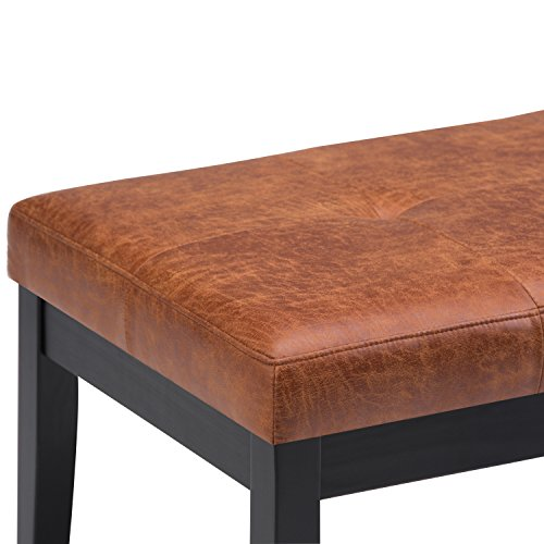 Simpli Home Lacey Tufted Ottoman Bench, Distressed Saddle Brown by Simpli Home (Image #3)