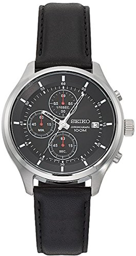 Seiko-SKS547-Mens-Leather-Band-Black-Dial-Date-Chronograph-Sports-Watch