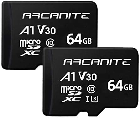 ARCANITE - Paquete de 2 tarjetas de memoria microSDXC de 64 GB, UHS-I U3, A1, V30, 4K, Clase 10, MicroSD - AK2PV30A164