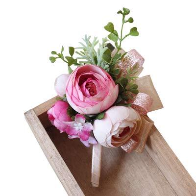 Yokoke Artificial Peony Silk Flower Boutonniere Bouquet Corsage Wristlet Vintage Silk Fake Succulent Plants With Pink Ribbon For Wedding Decor (dark pink)