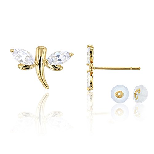 14K Yellow Gold Marquise Cut 7x10mm Dragonfly CZ Stud Earring & 14K Silicon Back