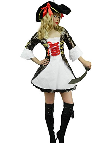 Yummy Bee Womens Pirate Caribbean Captain Costume + Hat Sword Size 2 - (Female Highwayman Costume)