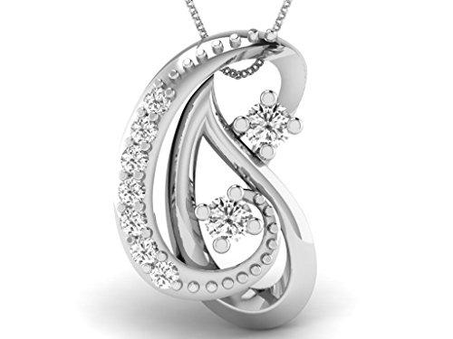 Or Blanc 14 ct Pendentifs Diamant , 0.03 Ct Diamant, GH-SI, 0.45 grammes.