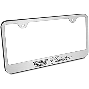 Amazon.com: Cadillac Crest Logo Brushed Stainless Steel License ...