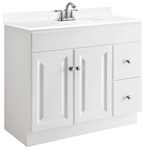 Design House 545095 Wyndham White Semi-Gloss Vanity Cabinet with 2-Doors and 2-Drawers, 36-Inches Wide by 21-Inches Deep by 31.5-Inches Tall