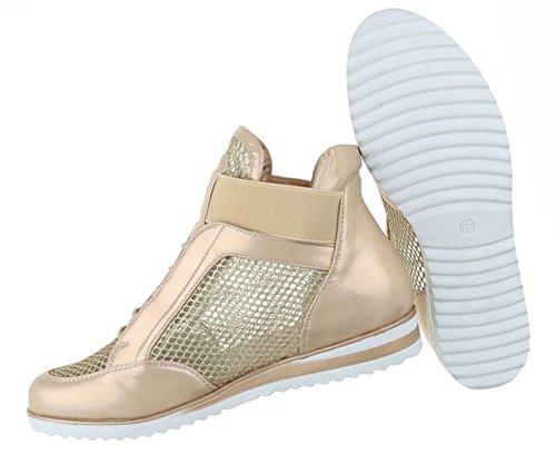 Damen Schuhe Freizeitschuhe Perforierte High Top Sneakers Turnschuhe Schwarz Gold