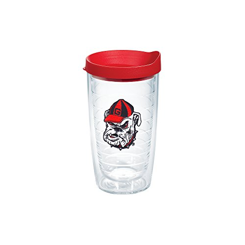 Tervis 1087762 Ga University Bulldog Head Emblem Individual Tumbler with Red lid, 16 oz, Clear (Cups Bulldogs)