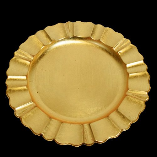 6-Pack Quasimoon PaperLanternStore.com 13 Inch Gold Heavy Duty Wedding Charger Plate with Fluted Edge