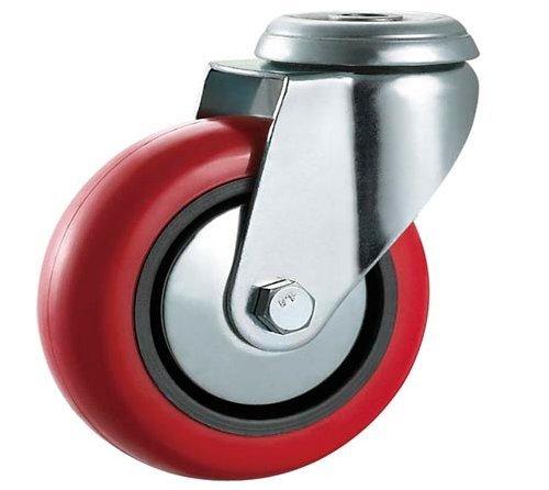 75/mm in poliuretano PU girevole con ruote con freni elettrodomestici e attrezzatura di Bulldog ruote/ /Ruote mobili /Heavy Duty/ / /max 280/kg per set... rosso