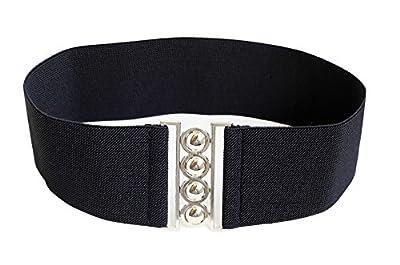 """Modeway Women Fashion 3""""Wide Silver Buckle Elastic Stretch Waist Cinch Belt"""