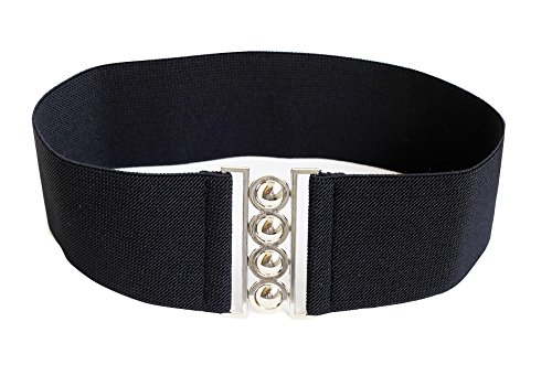 Modeway Women 3inch Elastic Stretch Wide Black Elastic Belt With Silver Buckle(S-M,Black) A2-1
