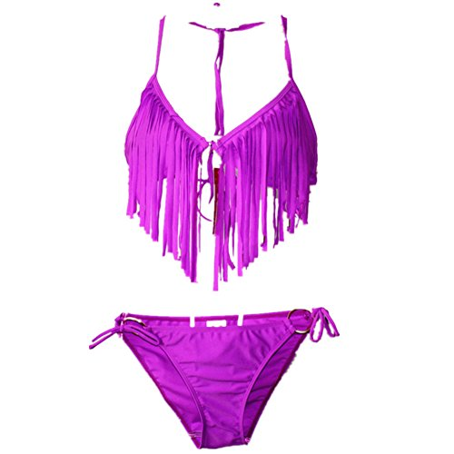 o-c macramé de la mujer Bikini Sets Púrpura