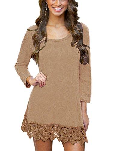MiYang Women's Long Sleeve A-line Lace Stitching Trim Casual Dress S Khaki