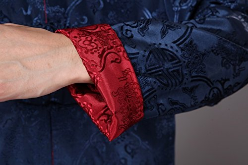 Rétro rouge De Chinois Foncé Deux Acvip fu Bleu Veste Homme Vêtement Tang Kung Porté Côtés Chemise TqBWtZUwAX