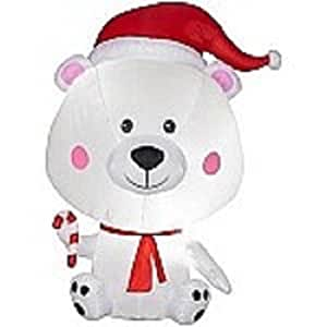 Gemmy Airblown Inflatable Egg Noggins Polar Bear - Indoor Outdoor Holiday Decoration, 6-foot Tall