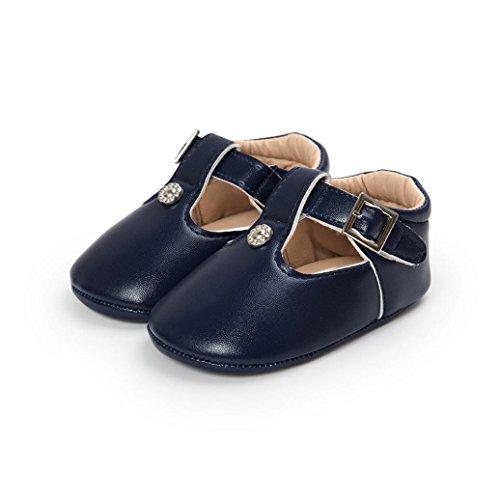 ❆Huhu833 Kinder Mode Baby Schuhe Soft Sole, Baby Kleinkind Leder Sole einzelne Schuhe beiläufige flache Schuhe (0~18 Month) Blau