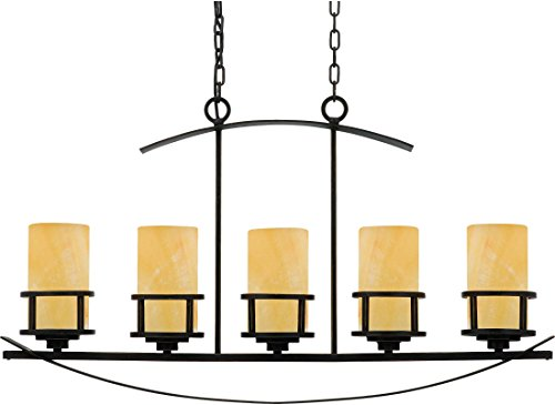 - Quoizel KY540IB Kyle Faux Alabaster Island Chandelier, 5-Light, 500 Watts, Imperial Bronze (23