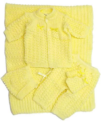 Hat Bootie Set - Newborn Baby Crochet Blanket 5 Piece Set Hat, Booties, Sweater, Pants (Yellow)