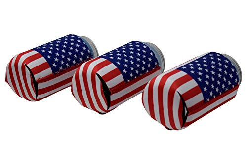 Neoprene Can Cooler Sleeve Collapsible Coolie Economy Bulk Insulation with Stitches Perfect 4 Events,Custom DIY Projects Variety of Colors (6, USA Flag) by QualityPerfection (Image #2)