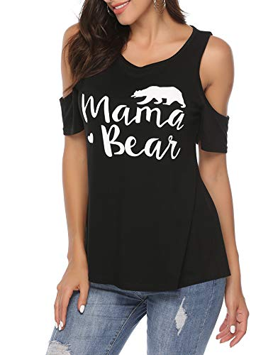 barnkas Women Mama Bear Shirt Crew Neck Batwing Short Sleeve Sweatshirt Loose Fit Casual Tops T Shirts (XL, -