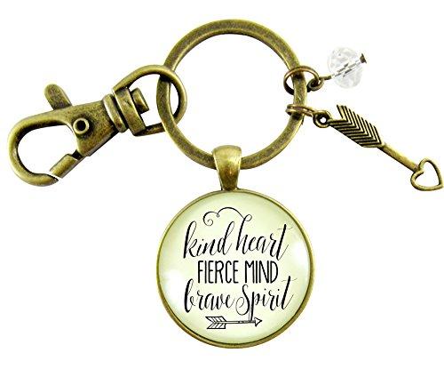 Kindness Keychain Kind Heart Fierce Mind Brave Spirit Vintage Inspired Pendant Arrow Heart Charm Message Card