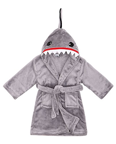 Boys Robe Animal Plush Soft Hooded Bathrobe Robe,Shark Grey,M(4-6 Years) -