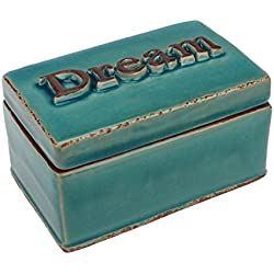 Stonebriar Worn Turquoise Dream Ceramic Keepsake Box, Decorative Trinket Box, Unique Small Jewelry Holder, Thoughtful Gift Idea for Birthdays, Christmas, Weddings, Engagements, or Any Special Occasion