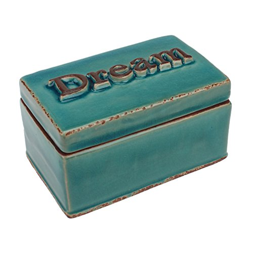 Ceramic Gift Box (Stonebriar Worn Turquoise Dream Ceramic Keepsake Box, Decorative Trinket Box, Unique Small Jewelry Holder, Thoughtful Gift Idea for Birthdays, Christmas, Weddings, Engagements, or Any Special Occasion)