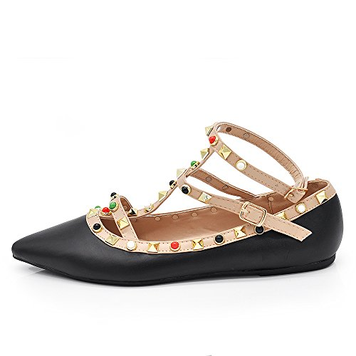 Donna Decollete A Punta 1754A 1754a Scarpe If Fashion Cinturini Decolte da Nero Ballerine Borchie Cq64UA