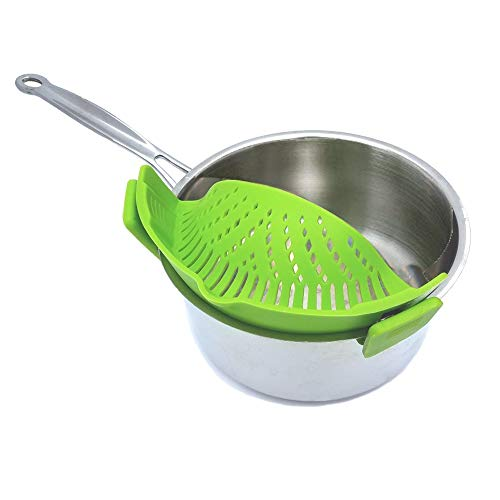 LJ-ZLK-112705 Clip on Pots Pans Blue//Green Pan Strainer for all Pots and Bowls WeTest 2 Pack Heat Resistant Silicone Pot Strainer