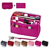 Purse Organizer Insert, Felt Bag organizer with zipper, Handbag & Tote Shaper, Fit LV Speedy, Neverfull, Longchamp, Tote (Slender Large, Rosy)