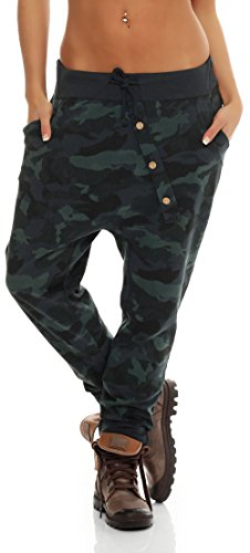 malito Urban Camouflage Boyfriend Pantalón Sweatpants Fitness Harem Aladin Bombacho Sudadera Baggy Yoga 3307 Mujer Talla Única gris oscuro