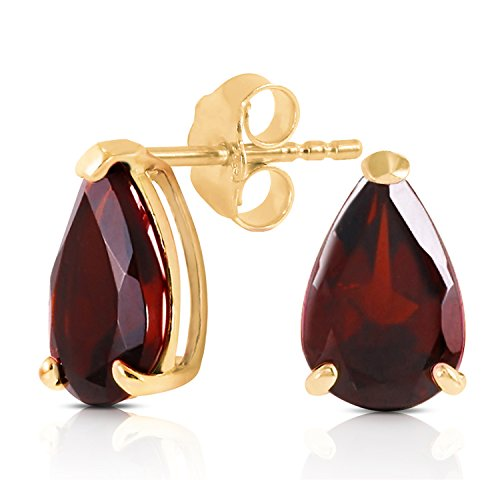 3.15 Carat 14K Solid Gold Stud Earrings Natural Garnet