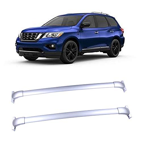 LUJUNTEC Silver Aluminum Roof Mounted Roof Rack Cross Bar Set Fit for 2013-2017 Nissan Pathfinder Sport Utility 4-Door 3.5L Top Rail Carries Luggage Carrier