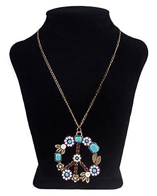 niceeshop(TM) Pearl Beads Rhinestone Peace Sign Symbol Chain Pendant Necklace,Bronze
