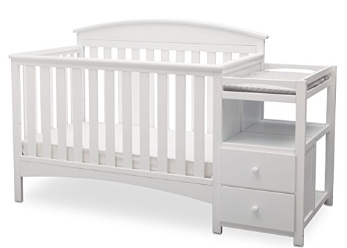 3 Shelf Wood Changing Table - Delta Children Abby Convertible Crib 'N' Changer, Bianca