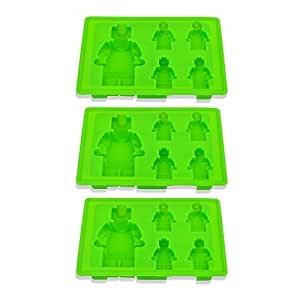 Riverbyland Green Robot Shape Silicone Ice Cube Trays Set of 3