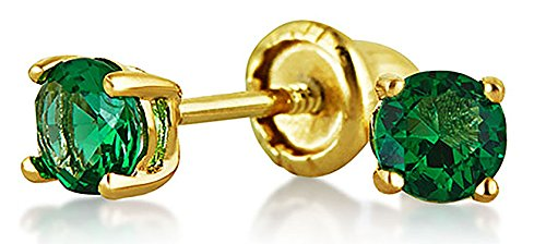 Bling Jewelry Simulated Emerald CZ Baby Screwback Studs 14K Gold 3mm - 14k Gold Pierced Earrings
