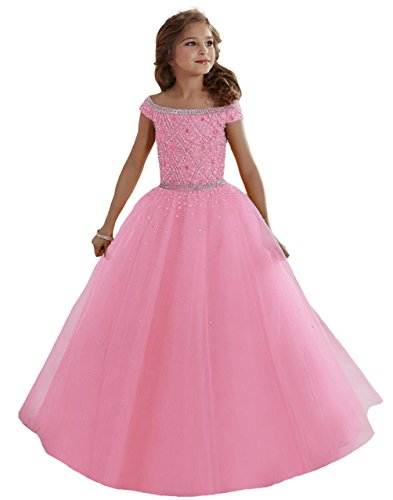 Aiduo Big Girls Mint Beaded Floor Length Party Ball Gown Pageant Dresses