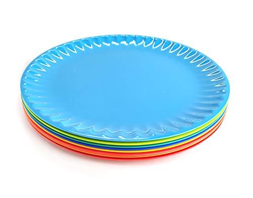 Melamine Salad Plates - 8pcs 8inch 100% Melamine Plates/Kids Plates/Picnic Plates,Multicolor| Dishwasher Safe,BPA Free