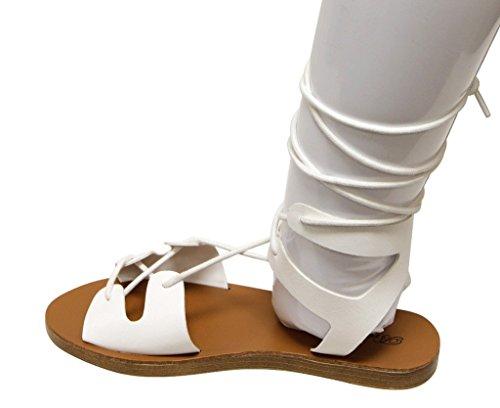 Breckelles Tess-08 Vrouwen Dorsay Platte Open Teen Gilly Tie Wrap Enkelbandje Sandalen Wit