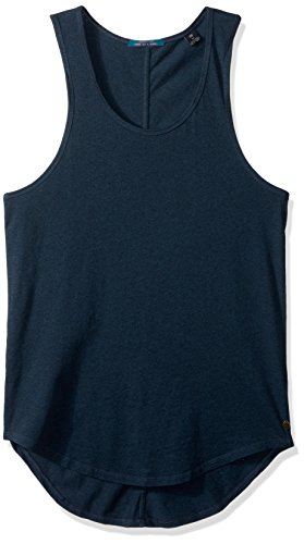 Scotch & Soda Men's Singlet In Lightweight Jersey Quality With Back Artwork, Denim Blue Melange, Medium (Art Singlet)