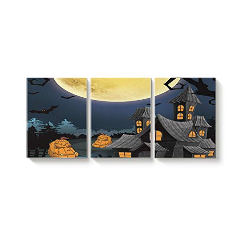 Arts Language 3 Piece Canvas Wall Art Painting for Office Bedroom Living Room Home Decor,Happy Halloween Pumpkin Castle Pattern Pictures Modern Artworks,24 x 32in x 3 -
