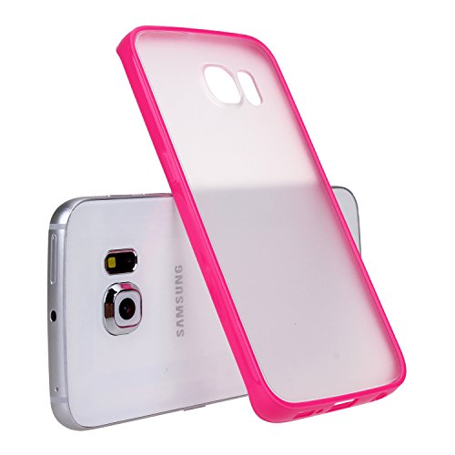 S6 Edge Case, GALAXY S6 Edge Case, E LV Samsung Galaxy S6 Edge Case Slim Fit Scratch-Resistant Transparent Back Soft TPU Bumper Case Cover for Samsung Galaxy S6 Edge with E LV microfiber cleaning cloth - HOT PINK
