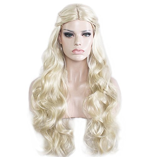 RightOn 27'' Long Curly Natural Synthetic Wig with Braids Women Full Wigs for Cosplay or Costume Party (Golden Blonde)
