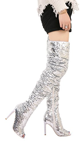Heel Thigh High Dance Over Knee Toe Peep Women's Sequins Pupms Christmas Fashion CAMSSOO Silver Boots Sparkle Party x6WqY088Pw