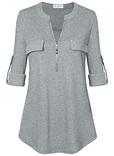 Bulotus Women's 3/4 Sleeve V Neck Casual Trendy Tunic Top with Zipper,Light Grey,X-Large